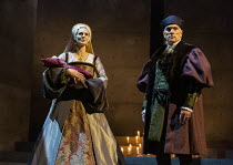 Jo Herbert (Jane, Lady Rochford - with dead infant heir), Ben Miles (Thomas Cromwell) in THE MIRROR AND THE LIGHT at the Gielgud Theatre, London W1 06/10/2021 adapted from her novel by Hilary Mantel &...