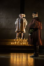 l-r: Nathaniel Parker (King Henry VIII), Ben Miles (Thomas Cromwell) in THE MIRROR AND THE LIGHT at the Gielgud Theatre, London W1 06/10/2021 adapted from her novel by Hilary Mantel & Ben Miles music:...