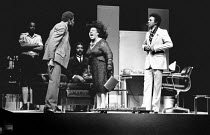 front, l-r: Rudolph Walker (Samuel), Lucita Lijertwood (Mrs Banks), Norman Beaton (Frank) in PLAY MAS by Mustapha Matura at the Royal Court Theatre, London SW1 16/07/1974 set design: Douglas Heap cost...