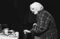 Anne Dyson (Mrs Wenlock) in BABIES GROW OLD at The ICA Terrace Theatre, London SW1 02/1975 a Royal Shakespeare Company (RSC) production design: Judith Bland lighting: Simon Bowler devised & directed b...