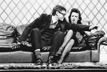 Paul Jesson (Irving), Marion Bailey (Jackie) in GOOSE-PIMPLES at the Garrick Theatre, London WC2 29/04/1981 devised & directed by Mike Leigh design: Caroline Beaver lighting: Alan O'Toole