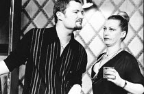Jim Broadbent (Vernon), Jill Baker (Frankie) in GOOSE-PIMPLES at the Hampstead Theatre, London NW3 03/03/1981 devised & directed by Mike Leigh design: Caroline Beaver lighting: Alan O'Toole