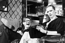 Paul Jesson (Irving), Jill Baker (Frankie) in GOOSE-PIMPLES at the Hampstead Theatre, London NW3 03/03/1981 devised & directed by Mike Leigh design: Caroline Beaver lighting: Alan O'Toole