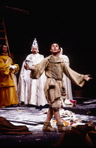 l-r: Richard Easton (Rochfort), Christopher Benjamin (Pope Clement VI), Antony Sher (Marcel Flote) in RED NOSES by Peter Barnes at the Royal Shakespeare Company (RSC), Barbican Theatre, Barbican Centr...