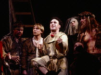 front, l-r: Jimmy Yuill (Druce), Brian Parr (Scarron), Antony Sher (Marcel Flote), Nicholas Farrell (Grez) in RED NOSES by Peter Barnes at the Royal Shakespeare Company (RSC), Barbican Theatre, Barbic...