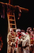 l-r: Peter Eyre (Toulon), Pete Postlethwaite (Brodin), Antony Sher (Marcel Flote) in RED NOSES by Peter Barnes at the Royal Shakespeare Company (RSC), Barbican Theatre, Barbican Centre, London EC2 02/...