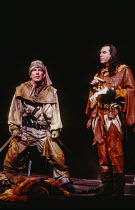 l-r: Pete Postlethwaite (Brodin), Richard Easton (Rochfort) in RED NOSES by Peter Barnes at the Royal Shakespeare Company (RSC), Barbican Theatre, Barbican Centre, London EC2 02/07/1985 design: Farrah...