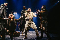 front, l-r: Malcolm Storry (Bajazeth), Geoffrey Freshwater (Techelles), Antony Sher (Tamburlaine), Gordon Case (Usumcasane) in TAMBURLAINE THE GREAT by Christopher Marlowe at the Royal Shakespeare Com...