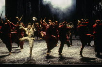 front left: Antony Sher (Tamburlaine) in TAMBURLAINE THE GREAT by Christopher Marlowe at the Royal Shakespeare Company (RSC), Barbican Theatre, London EC2 12/10/1993 design: Johan Engels lighting: Way...