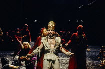Claire Benedict (Zenocrate), Antony Sher (Tamburlaine) in TAMBURLAINE THE GREAT by Christopher Marlowe at the Royal Shakespeare Company (RSC), Barbican Theatre, London EC2 12/10/1993 design: Johan Eng...