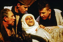 Tamburlaine lies dying: Antony Sher (Tamburlaine) in TAMBURLAINE THE GREAT by Christopher Marlowe at the Royal Shakespeare Company (RSC), Barbican Theatre, London EC2 12/10/1993 design: Johan Engels l...