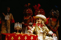Derek Godfrey (King Louis XIV) in MOLIERE by Bulgakov at the Royal Shakespeare Company (RSC), The Other Place, Stratford-upon-Avon 05/08/1982 in a new version by Dusty Hughes set design: Ralph Koltai...