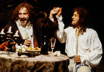 l-r: Antony Sher (Moliere), Chris Hunter (Moirron) in MOLIERE by Bulgakov at the Royal Shakespeare Company (RSC), The Pit, Barbican Centre, London EC2 08/09/1983 in a new version by Dusty Hughes set d...