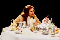 David Bradley (Cleante) in TARTUFFE by Moliere at the Royal Shakespeare Company (RSC), The Pit, Barbican Theatre, London EC2 28/07/1983 translated by Christopher Hampton design: Alison Chitty lighting...