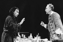 l-r: Antony Sher (Tartuffe), Nigel Hawthorne (Orgon) in TARTUFFE by Moliere at the Royal Shakespeare Company (RSC), The Pit, Barbican Theatre, London EC2 28/07/1983 translated by Christopher Hampton d...