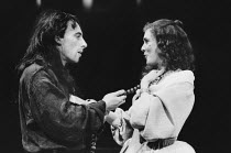 Antony Sher (Tartuffe), Alison Steadman (Elmire) in TARTUFFE by Moliere at the Royal Shakespeare Company (RSC), The Pit, Barbican Theatre, London EC2 28/07/1983 translated by Christopher Hampton desig...